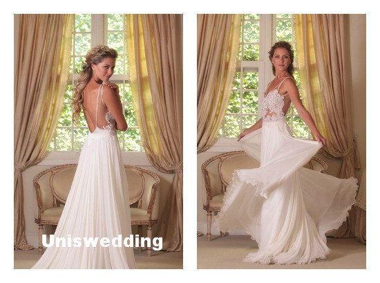Lace Spaghetti Strap Wedding Dresses