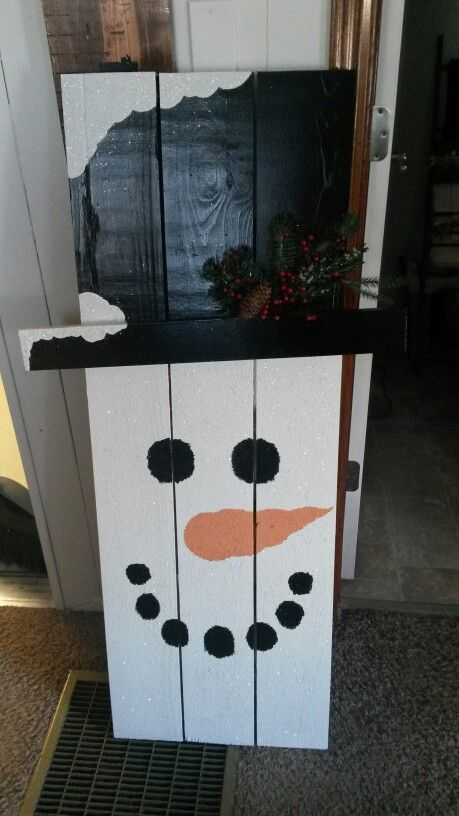 Wooden snowman I painted