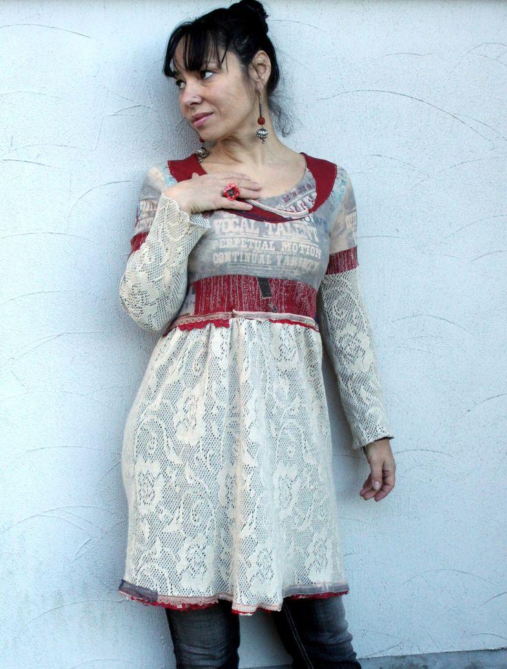 SALE M-L Romantic popart recycled dress tunic hippie boho style by jamfashion on Etsy https://www.etsy.com/listing/175272917/sale-m-l-romantic-popart-recycled-dress