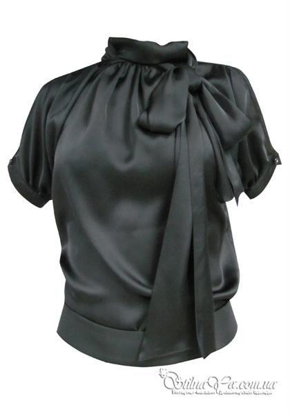 Шелковая черная блузка купить