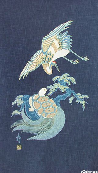Crane & Turtle Lives - Noren Panel - Indigo/Gold