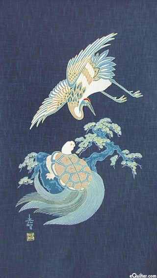 Crane & Turtle Lives - Noren Panel - Indigo/Gold