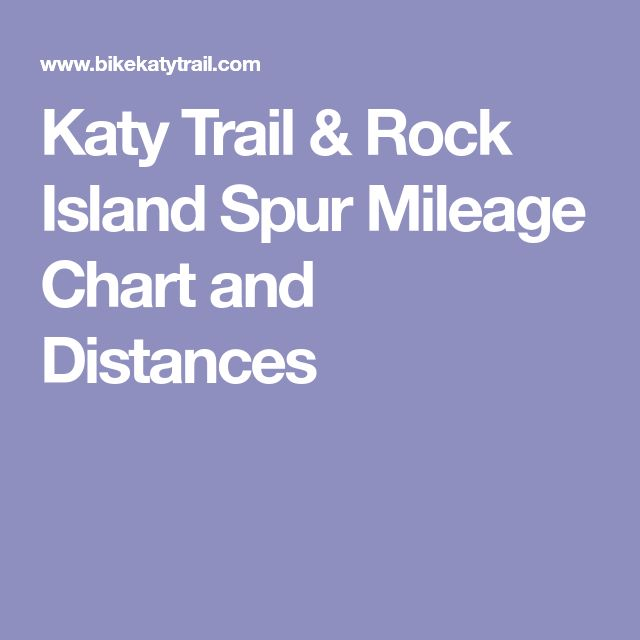 Katy Trail Rock Island Spur Mileage Chart And Distances Pinterest Distance