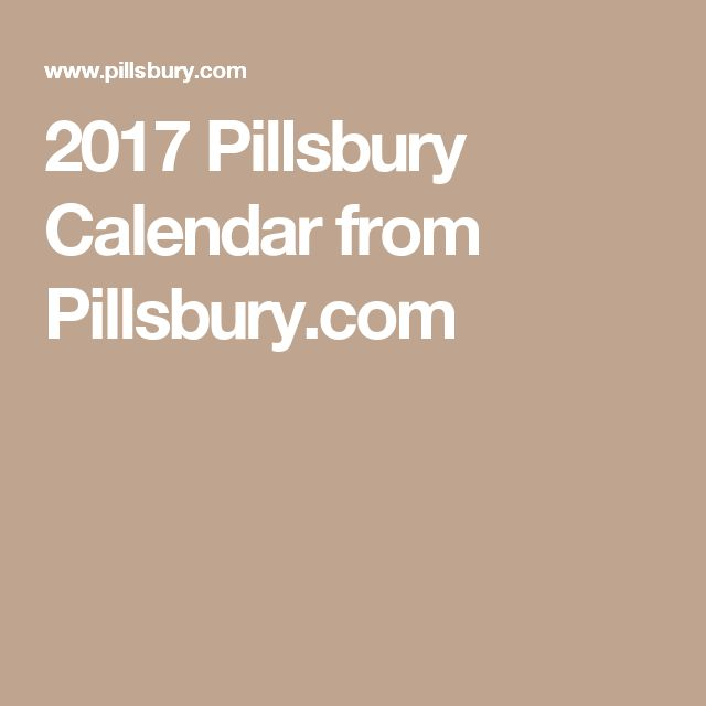 2017 Pillsbury Calendar from Pillsbury.com
