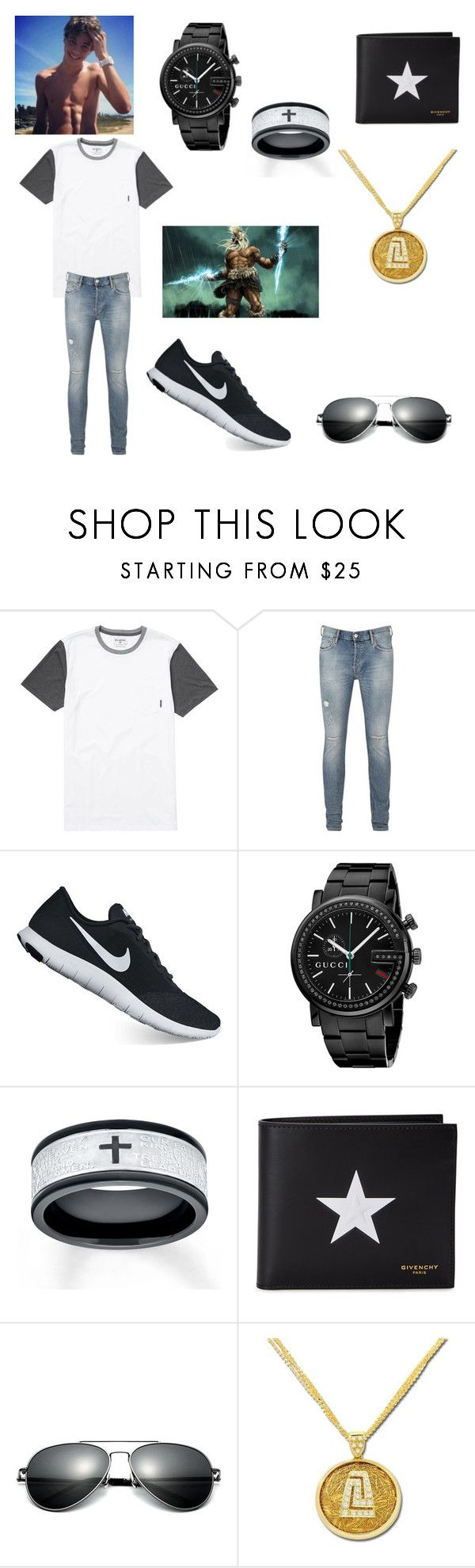 """Ryder, Zeus's son"" by pizzaqueen188 ❤ liked on Polyvore featuring Billabong, AllSaints, NIKE, Gucci, Givenchy, Anastazio, men's fashion and menswear"