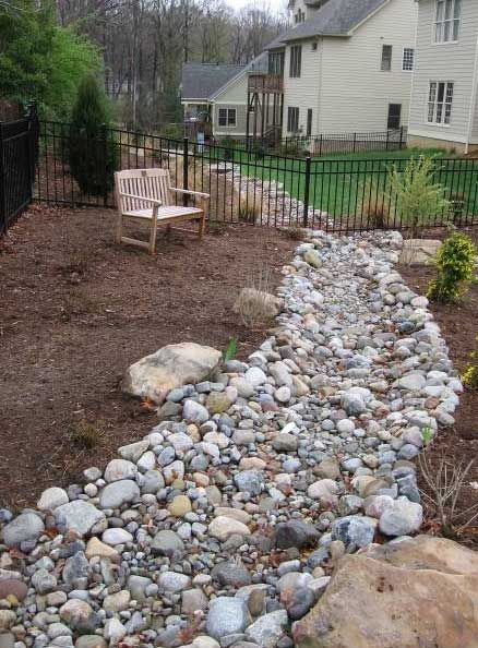 308 best images about dry creek bed on pinterest for Landscaping rocks charlotte nc