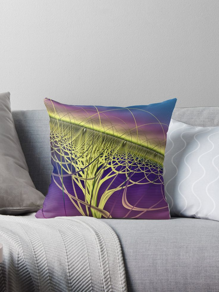 Twister Yellow Throw Pillows by Terrella.  A colourful abstract twister made of twisted strands and arches with a jagged multicoloured background. This is the yellow version. • Also buy this artwork on home decor, apparel, phone cases, and more.