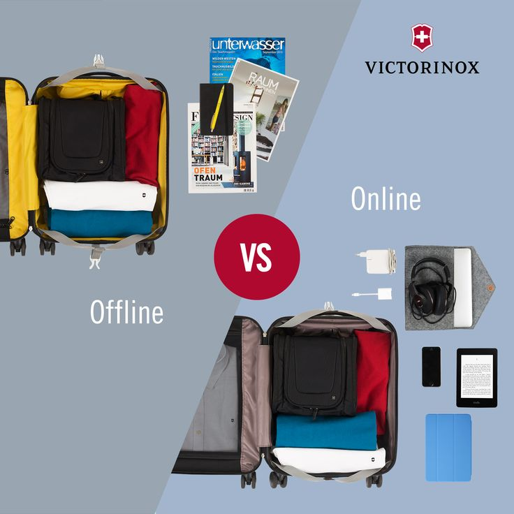 Offline vs. Online: Do you prefer turning pages in your magazine or scrolling down on your digital device? #WhatTypeAreYou #Victorinox #TravelGear