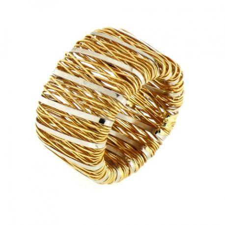 Anillo oro blanco y amarillo tiras