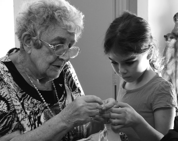 To see the very young helping the very old is a true pleasure, even with something as simple as threading a sewing needle. We all need help at times, no matter what our age.
