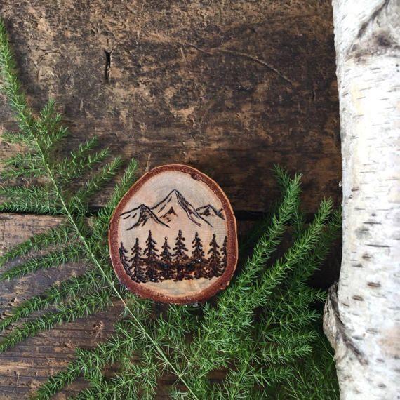 Wood burned mountain scene magnet. Birch wood by ForageWorkshop