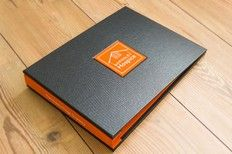 A4 Landscape Company Presentation Folder For Barnsley Hospice, Yorkshire. Custom and hand made.