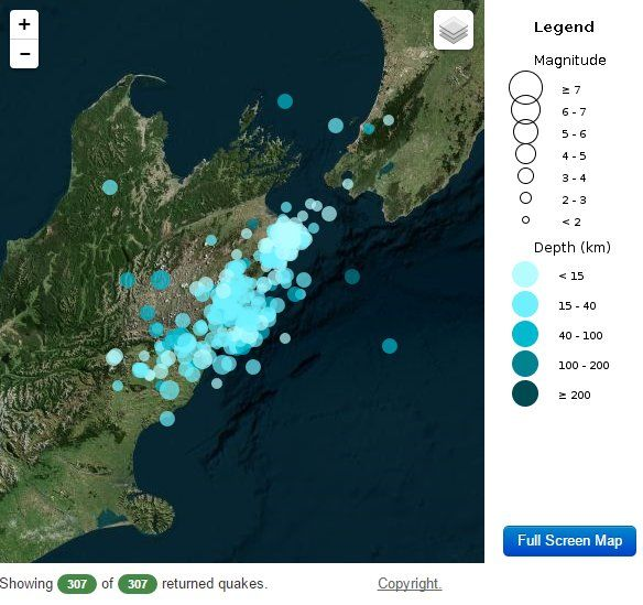 """GeoNet on Twitter: """"7 am update: 22 eqs in the last hour, 307 eqs in last 12 hrs (18 over M4) and 1572 eqs since the M7.5. Kaikoura Earthquake #eqnz #Kaikoura https://t.co/d0puzACUok"""""""