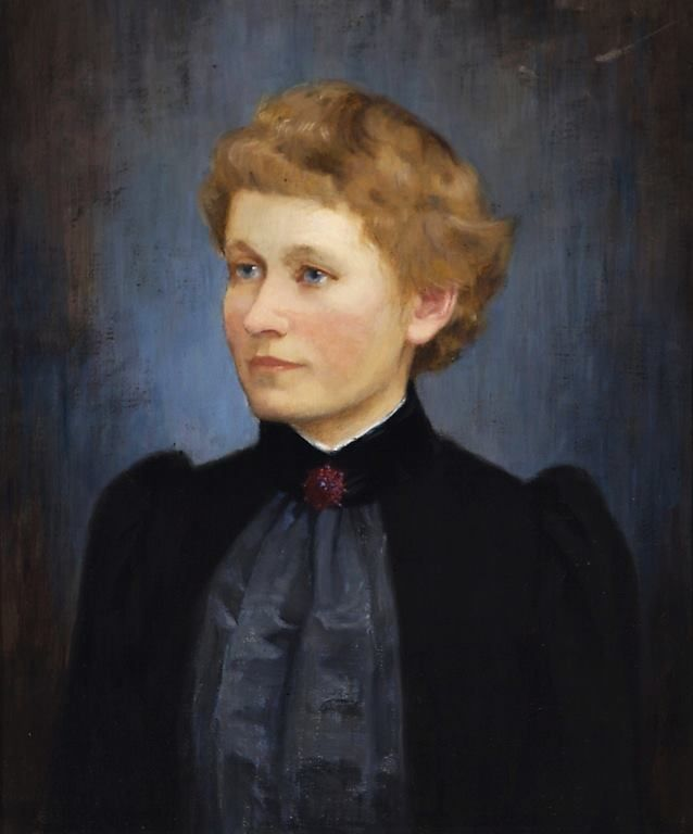 Maria Wiik (Finnish painter) 1853 - 1928 Nuori Nainen, Lydia Unggren (A Young Woman, Lydia Unggren), s.d. oil on canvas 44 x 38 cm.