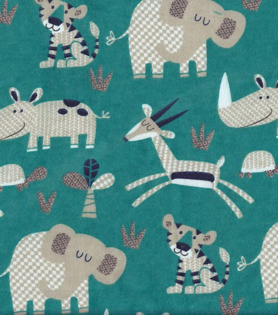 Snuggle flannel fabric patterned jungle animals fabric for Constellation fleece fabric