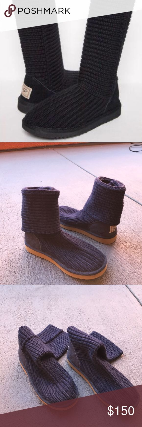 Blue uggs ⭐NWOT⭐SMOKE/PET FREE HOME⭐ tall style uggs. Knit style like this is no longer produced. Women's. Never worn. Couple marks shown all from storage. In excellent condition! 100% authentic. UGG Shoes Winter & Rain Boots