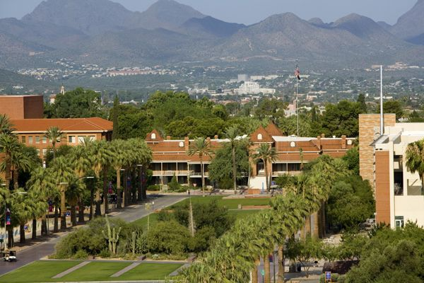 The University of Arizona spans nearly 400 acres in central Tucson.
