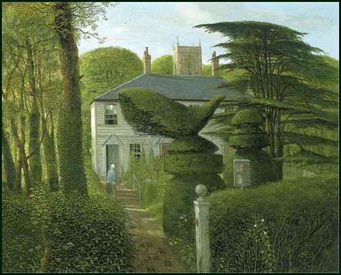 Surrey Cottages (1981) by John Shelley, oil on board 61 x 76.2 cm