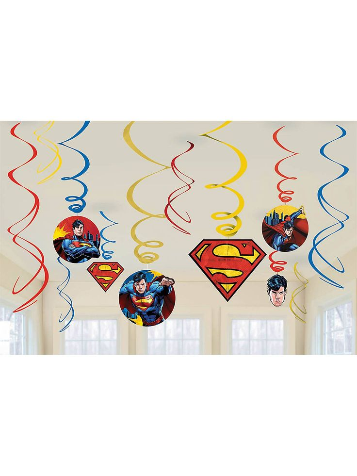 Superman Foil Swirl Hanging Decorations - Superman Party Supplies