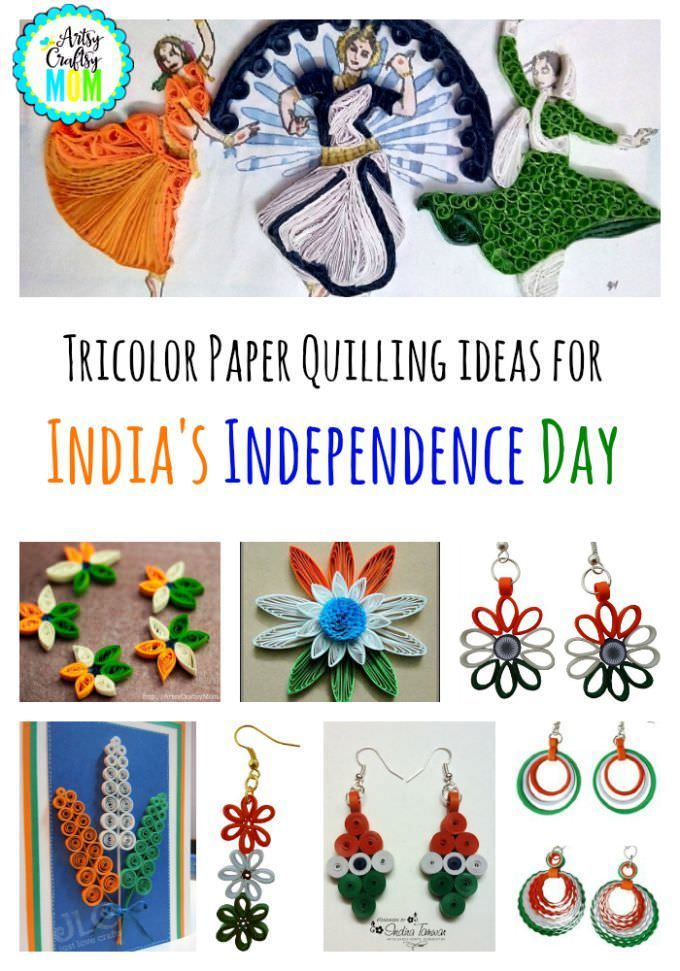 Presenting - 10+ Tricolor Paper Quilling ideas for India's Independence Day - Tricolor cards, flowers , earrings all using paper strips #Tiricolor #diy #art #craft #republicday