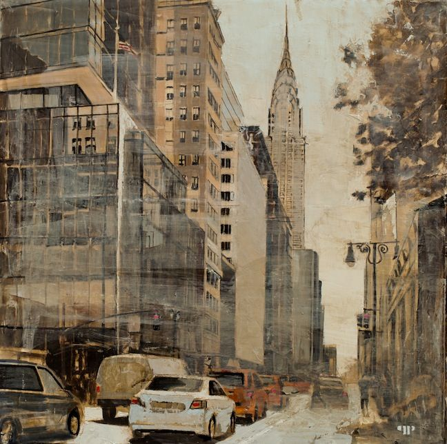 """Patrick Pietropoli, 42nd St West, 2014, Oil on Linen, 20"""" x 20"""" #art #axelle #painting #nyc #streetscape #urban"""