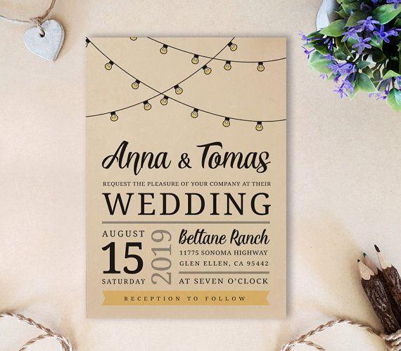 String lights huwelijksuitnodigingen afgedrukt door OnlybyInvite