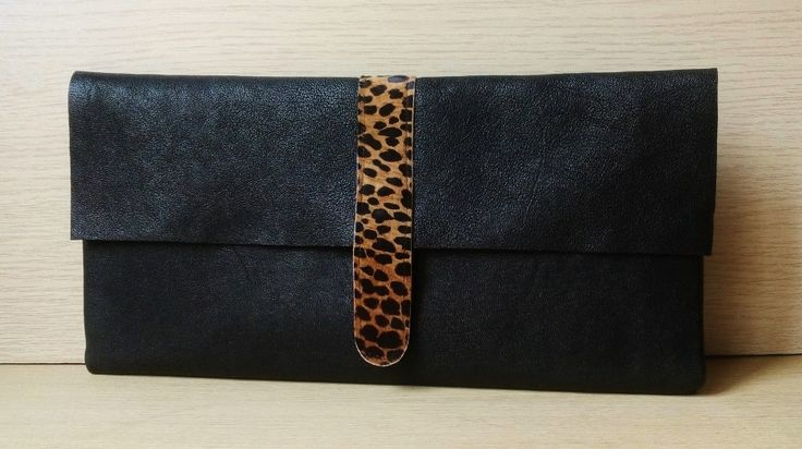 Custom made black leather clutch with leopard print detail by Mika Mika Bags! Request a custom order and have something made just for you!
