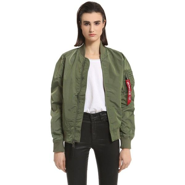 Alpha Industries Women Slim Fit Nylon Bomber Jacket ($200) ❤ liked on Polyvore featuring outerwear, jackets, green, slim fit bomber jacket, green nylon jacket, zip front bomber jacket, slim jacket and green bomber jacket