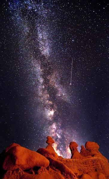 Shooting Star and Milky Way over Goblin Valley National Park in Green River, Utah. Photo Credit: Bret Webster