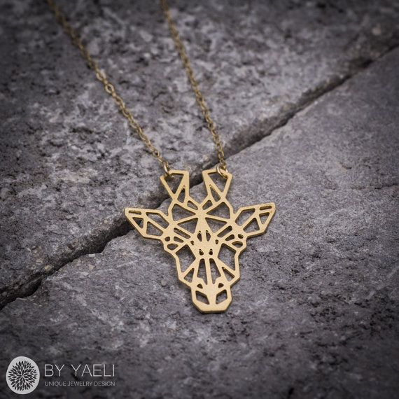 Animal necklace geometric necklace giraffe necklace by ByYaeli
