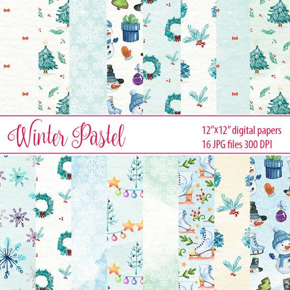 Winter Pastel Paper Digital Paper Christmas Watercolor by DigiPPP