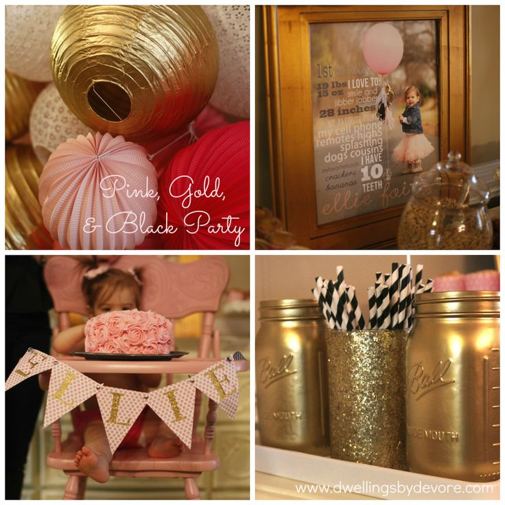 pink, gold, black, and white party, lots of cute DIY ideas