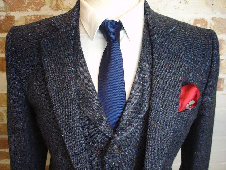 3 Piece Wedding Suit in Blue Donegal Tweed