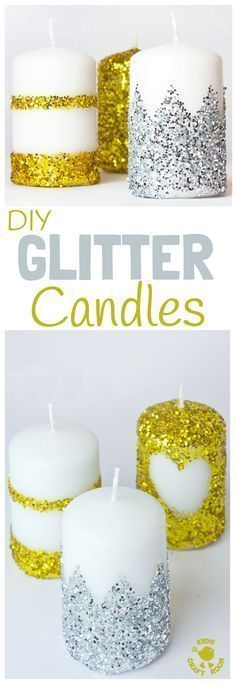 GORGEOUS DIY GLITTER CANDLES- Have you wondered how to make glitter candles? These homemade candles are easy enough for kids to make. They look so pretty and make great gifts too. Fantastic for Christmas or New Year's Eve Ornaments. #christmas #newyearseve #candles #diy #giftideas #kidscrafts #christmascrafts #newyearcrafts #homemadecandles #glitter #homemade #kidscraftroom #ornaments via @KidsCraftRoom