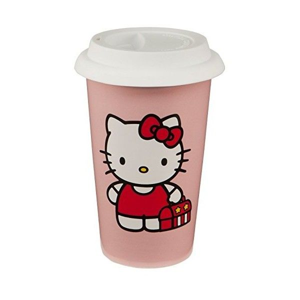 Hello Kitty 12 Oz. Ceramic Double Wall Travel Mug: Amazon.ca: Home &... ($39) ❤ liked on Polyvore featuring home, kitchen & dining, drinkware, ceramic travel cup, ceramic travel mug, hello kitty travel cup, hello kitty travel mug and hello kitty