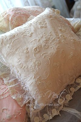 Princess Lace Pillows - interesting idea to sew a lace overlay (3 sides) the size of an existing plain pillow, turn right side out, insert pillow, and sew up the 4th side... easy way to add character to a boring pillow!