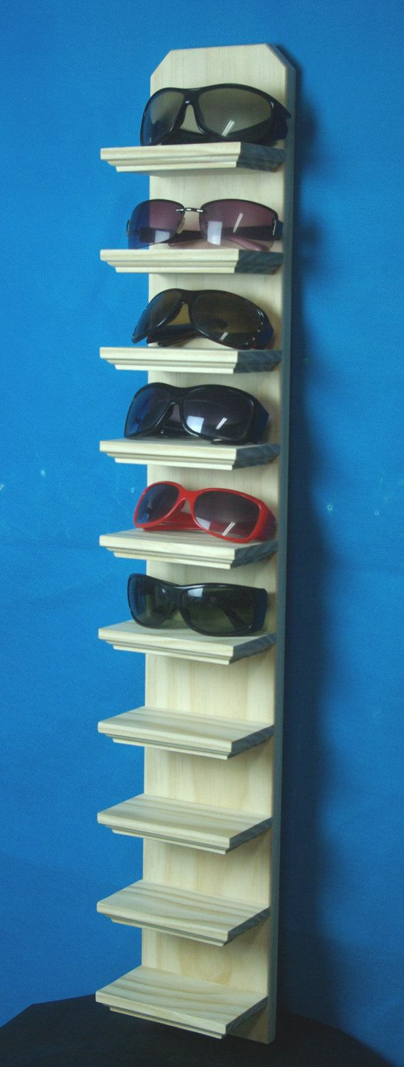 "35"" Tall Unfinished 10 shelf Wall Mount Sunglasses Display Shelf Eyeglass Rack Organizer"