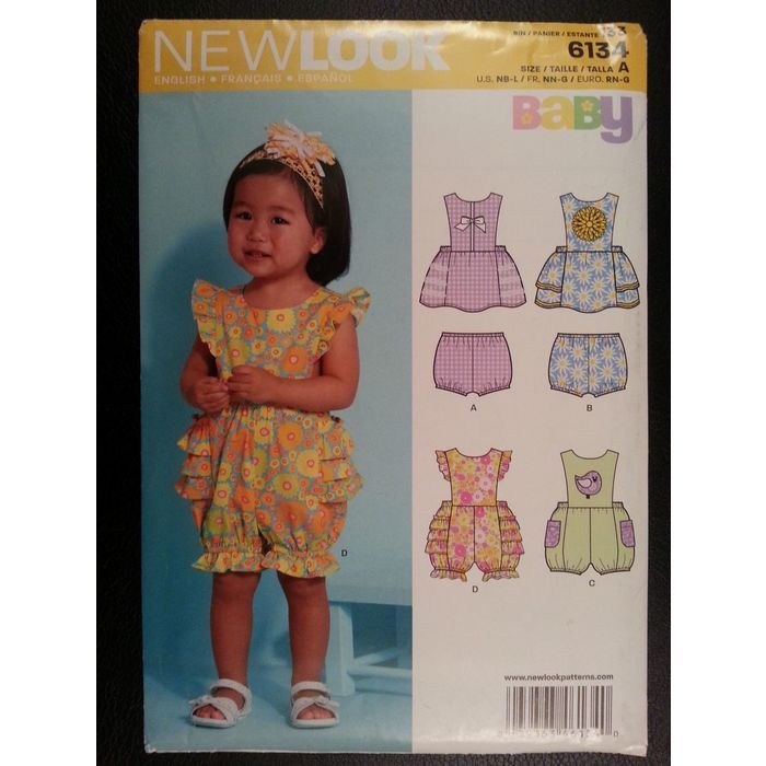 New Look 6134 Baby Sun Dress,Romper,Panties sewing pattern sizes Newborn - Large Listing in the Childrens,Sewing,Patterns,Sewing,Crafts, Handmade & Sewing Category on eBid Canada | 151886550