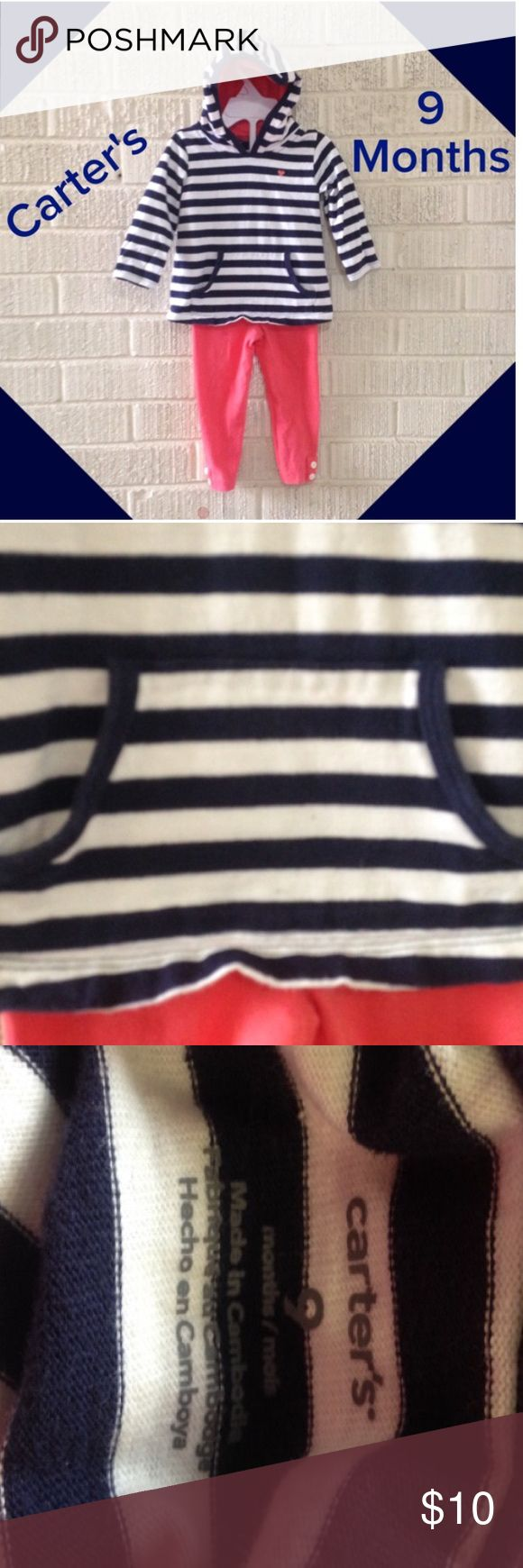 9m Carter's nautical outfit Coral pants and navy and white striped pull over hoodie Carter's Matching Sets