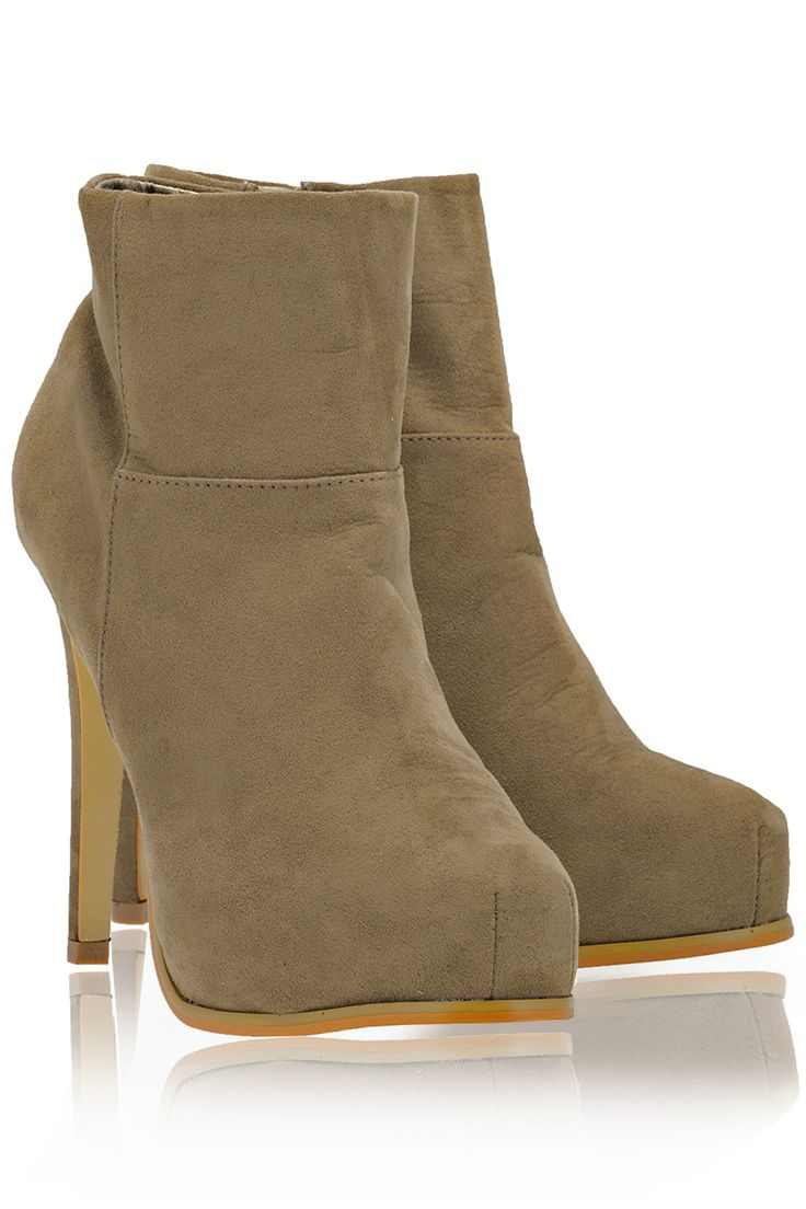 TIMELESS  ELSA Taupe Suede Ankle Boots