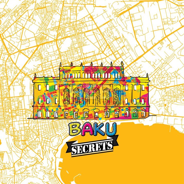 Baku Travel Secrets Art Map by #Hebstreit #stockimage #secret #travel #beautiful #destination #map #places