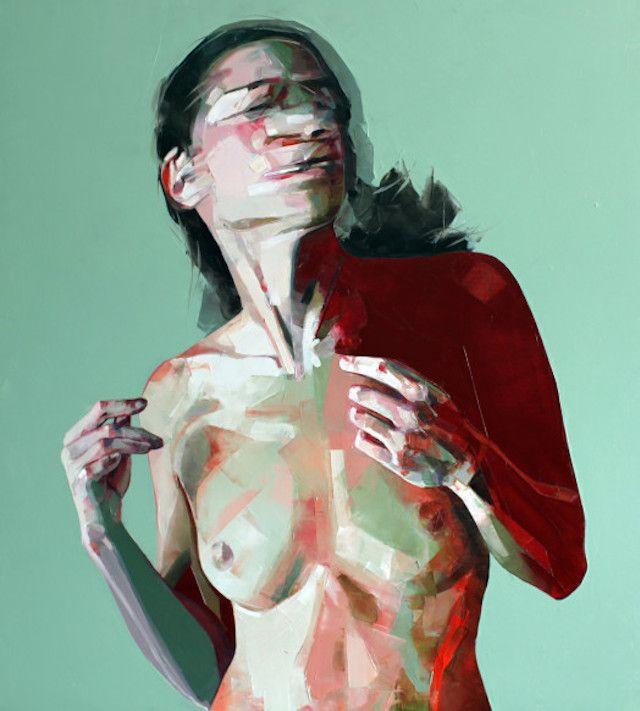 PEINTURE : Simon Birch est un artiste d'origine britannique qui réalise des peintures de femmes nus, à la fois très colorés et très graphiques donnant un sens, presque abstrait à la représentation.