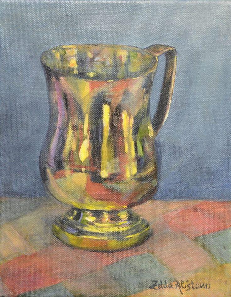 Pa se beker by Zelda Alistoun paintings Oil on canvas 200 x 250mm