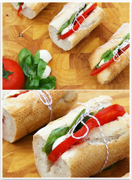 Outdoor Cinema Picnic Baguettes  YOU'LL NEED: 2 x french breadsticks 2 x tomatoes 90g Bocconcini Bunch of fresh basil Olive Oil  DIRECTIONS: 1. Cut each breadstick into thirds and each third into halves. 2. Lay fresh basil and sliced bocconcini. 3. Add sliced tomato, drizzle with fresh olive oil and season with cracked pepper. 4. Tie with string for presentation. Makes 6 Sandwiches.
