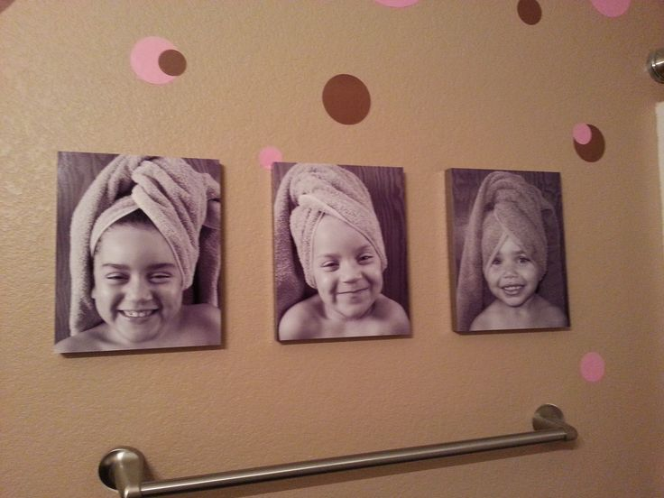 uploaded to Walmart photo online, changed to black and white, had printed on 1' photo canvas.  Hung up in bathroom