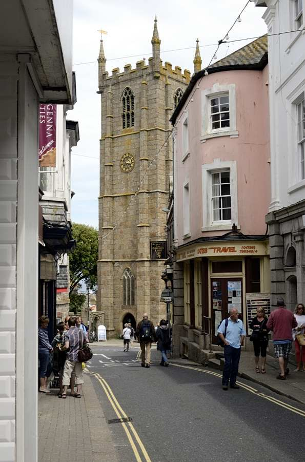 Town centre of St Ives, Cornwall.  Best to get a train into St Ives as parking limited and streets narrow.