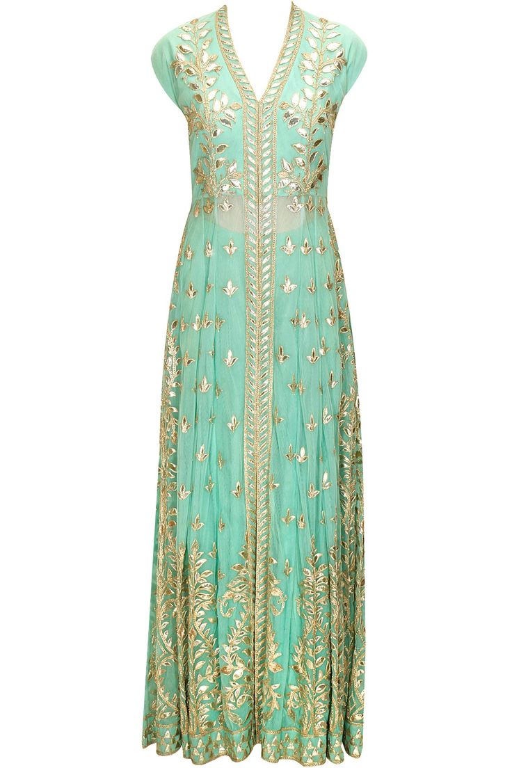 Seafoam gota patti embroidered jacket with sharara pants by Anita Dongre.