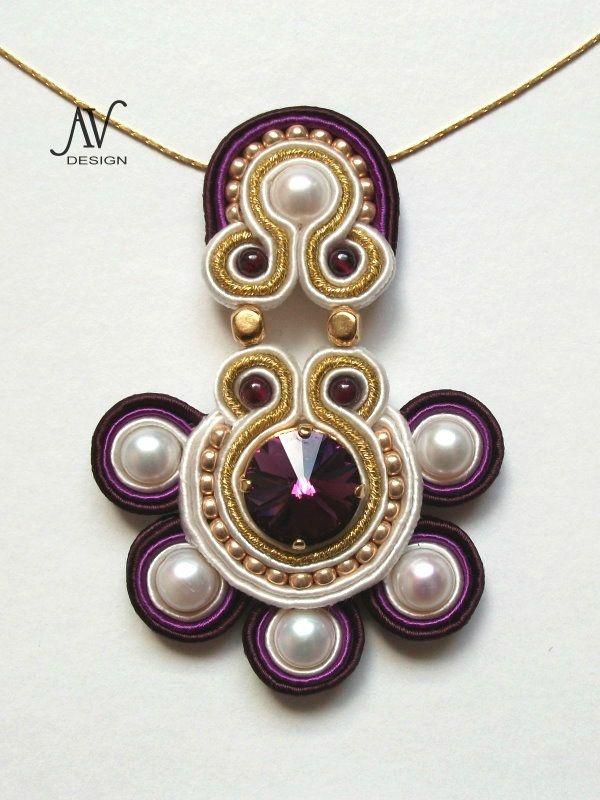 Soutache bead embroidery pendant--beautiful