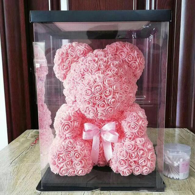 Teddy Rose Bear With Hearts Gift For Valentine Birthday In Box Crown LED Light