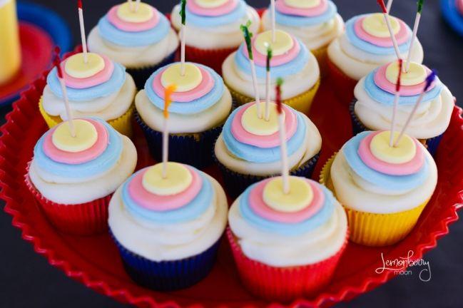 Archery party cupcakes #archery #party #cupcakes
